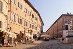 Piazza del Rinascimento italy Urbino Arkivfoto