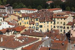 The Piazza dell'Anfiteatro in Lucca, Italy Stock Photography