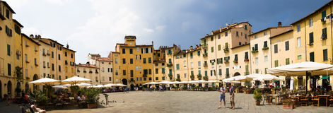 Piazza dell'anfiteatro in Lucca, Italy Stock Images