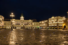 The Piazza Dell Unita D'Italia. In the city of Trieste in Italy Stock Photo