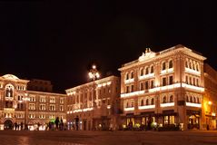Piazza dell`Unita in Trieste shot at night with all lights on royalty free stock image