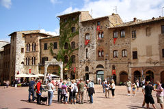 Piazza della Cisterna in San Gimignano (Italy) stock photo