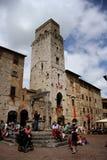 Piazza della Cisterna in San Gimignano (Italy) Royalty Free Stock Photography