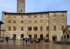 Piazza della Cisterna, San Gimignano Stock Photo