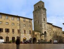 Piazza della Cisterna, San Gimignano Stock Image
