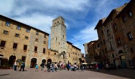 Piazza della Cisterna. San Gimignano. Tuscany. Italy Stock Images