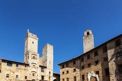Piazza della Cisterna in San Gimignano Stock Photography