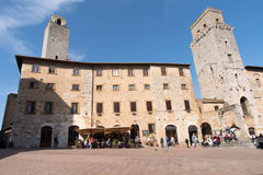 Piazza della Cisterna square, San Gimignano, Tuscany, Italy Royalty Free Stock Photo