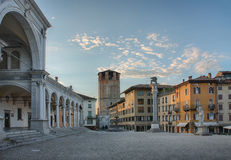 Piazza della Liberta in Udine,Italy at sunrise time. Royalty Free Stock Photography