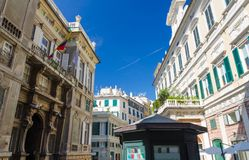 Piazza della Meridiana square in historical centre of city Genoa Genova, Liguria, Italy. Palace Palazzo Grimaldi della Meridiana, typical colorful classic style royalty free stock images