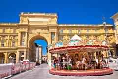 Piazza della Repubblica en Antica Giostra Toscanië in Florence v stock afbeelding