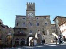 PIAZZA DELLA REPUBBLICA, MAIN SQUARE IN CORTONA, ITALY Stock Photography