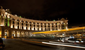 Piazza della Repubblica with night traffic, Rome, Italy Stock Image