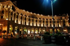 Piazza della Repubblica with night traffic, Rome, Italy Royalty Free Stock Images
