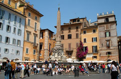Piazza della Rotonda. Beautiful Rotonda Square opposite the Pantheon church, Rome, Italy Stock Image