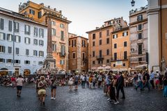 Piazza della Rotonda w dziejowym centrum miasta Rzym Fotografia Stock