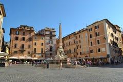 Piazza Della Rotonda w Rzym, Włochy Kwadrat panteon zdjęcie stock