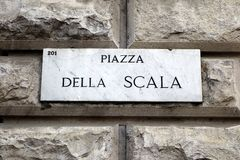 Piazza Della Scala, Marble Plaque Stock Image