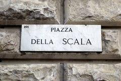 Piazza Della Scala, marmorplatta Fotografering för Bildbyråer