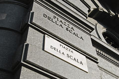 Piazza della Scala signboard Royalty Free Stock Photography