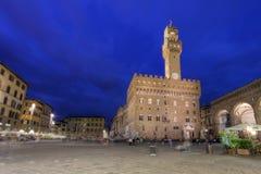 Piazza della Signoria bij nacht, Florence, Italië Stock Foto's