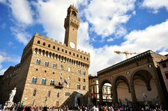 Piazza della Signoria in de stadscentrum van Florence, Italië Stock Afbeelding