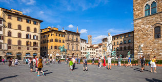Piazza della Signoria in Florence. Busy summer day at the popular Piazza della Signoria in Florence, Italy stock images
