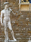 Piazza della Signoria. In Florence (Firenze), Tuscany, Italy. Specifically, the statue of David by Luigi Arrighetti royalty free stock photos