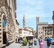 Piazza della Signoria in Florence. FLORENCE, ITALY – JUNE 11: Piazza della Signoria in Florence, Italy on June 11, 2014. Considered for centuries the heart of Royalty Free Stock Image