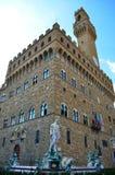Piazza della Signoria in Florence - Italy. Neptune's Fountain and Palazzo Vecchio in Piazza della Signoria in Florence Royalty Free Stock Image