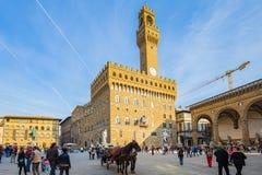 Piazza Della Signoria in Florence, Italy. Florence, Italy - April 10, 2015: Piazza della Signoria is an L-shaped square in front of the Palazzo Vecchio in Stock Image