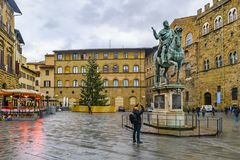 Piazza della Signoria, Florence, Italy. FLORENCE, ITALY, JANUARY - 2018 - Winter rainy urban day scene at famous piazza della signoria at Florence city, Italy royalty free stock photo