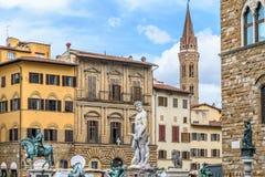 Piazza della Signoria. Florence, Italy. Piazza della Signoria. Neptune statue. Cosimo monument. Palazzo Vecchio. Florence, Italy stock photography