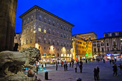 Piazza della Signoria in Florence by night Royalty Free Stock Photos