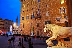 Piazza della Signoria in Florence with Palazzo Vecchio Royalty Free Stock Photo