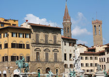 Piazza della Signoria, Florence, Toscanië, Italië. Royalty-vrije Stock Fotografie