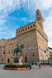 Piazza della signoria - florence - tuscany - italy. FLORENCE, ITALY - 23 JUNE, 2014: The equestrian statue of Cosimo I de Medici Royalty Free Stock Images