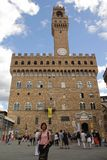 Florence, Italy - September 03,2017: Beautiful Piazza Della Signoria square in the blue sky and cloud royalty free stock images