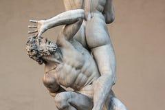 Piazza della Signoria, Loggia dei Lanzi, sculpture Rape of the Sabines Stock Photography