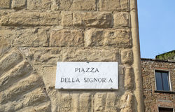 Piazza della Signoria marble sign. In Florence Royalty Free Stock Images