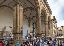 Piazza della Signoria met Renaissancebeeldhouwwerk in Rome Stock Afbeelding