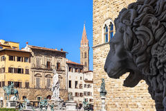 Piazza Della Signoria and Neptune fountain in Florence,Tuscany, Royalty Free Stock Image