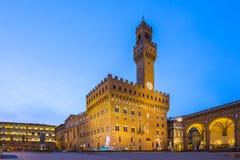 Piazza della Signoria at night in Florence,Tuscany Italy Stock Photos