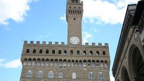Piazza della Signoria and Palazzo Vecchio in Florence, Italy. View of Piazza della Signoria and Palazzo Vecchio in Florence, Italy in a sunny day stock video