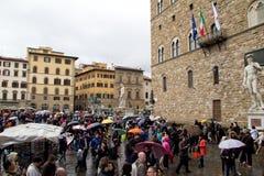 Piazza della Signoria and Palazzo Vecchio in Florence Stock Photography