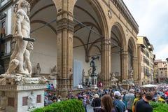 Piazza della Signoria (Signoria-vierkant) in Florence Royalty-vrije Stock Fotografie