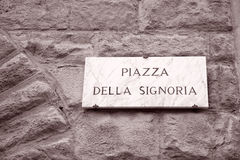 Piazza della Signoria Square Sign, Florence Royalty Free Stock Photos