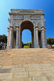 Piazza Della Vittoria - Genova. Piazza della Vittoria - Victory square in Genoa with the arc of triumph, Liguria , Italy Stock Images