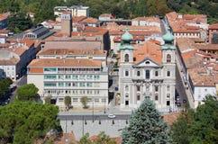 Piazza della Vittoria in Gorizia Seen from the Castle Royalty Free Stock Photography