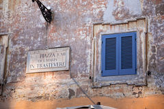Piazza delle Cinque Scole sign Royalty Free Stock Images